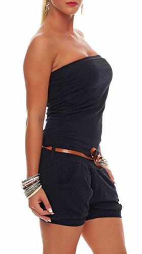 Malito Damen Einteiler kurz in Unifarben | Overall mit Gürtel | schicker Jumpsuit | Romper - Playsuit - Hosenanzug 8964 (dunkelblau) - 2