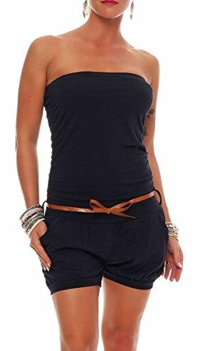 Malito Damen Einteiler kurz in Unifarben | Overall mit Gürtel | schicker Jumpsuit | Romper - Playsuit - Hosenanzug 8964 (dunkelblau) - 1