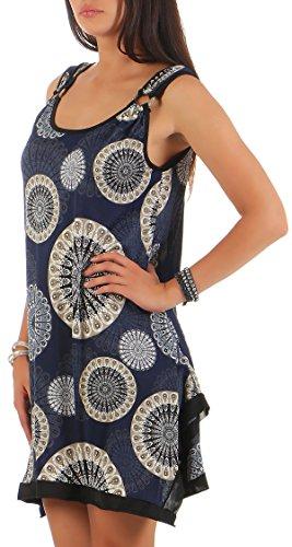 malito Sommerkleid mit orientalischem Muster V-819 Damen One Size dunkelblau -