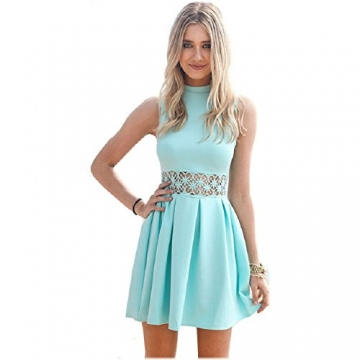 Malloom® Sexy Frauen Sommer Ärmelloses Beiläufige Spitzen Abend Partei Kurzes Kleid (S, hellblau) -