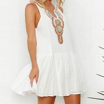 Mallorma® Damen Sommer Retro Print Abend Party Strand Minikleid Frauen bedruckten Rückenausschnitt Print Kleid (S, weiß) - 2