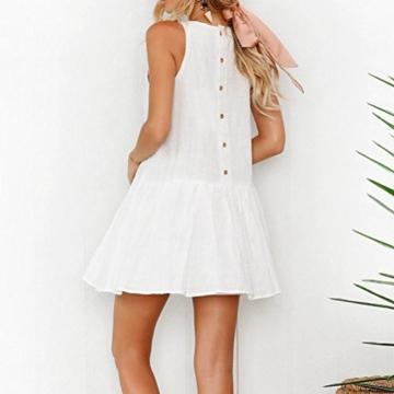 Mallorma® Damen Sommer Retro Print Abend Party Strand Minikleid Frauen bedruckten Rückenausschnitt Print Kleid (S, weiß) - 4