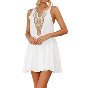 Mallorma® Damen Sommer Retro Print Abend Party Strand Minikleid Frauen bedruckten Rückenausschnitt Print Kleid (S, weiß) - 1