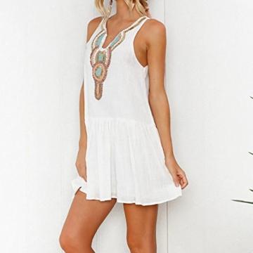 Mallorma® Damen Sommer Retro Print Abend Party Strand Minikleid Frauen bedruckten Rückenausschnitt Print Kleid (S, weiß) - 5