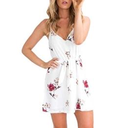 Mallorma® Frauen Sexy Kleid Floral Straps Minikleid Camisole Ärmelloses Kleid Sling Print V-Ausschnitt Ärmelloses Kleid (L, weiß) - 1