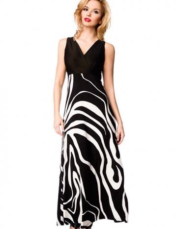 Maxi Kleid in schwarz/weiss
