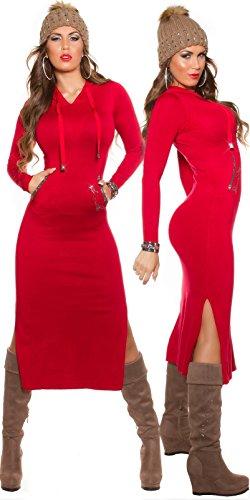 Maxikleid Strick Kleid mit Kapuze Schlitz Strass Knit Dress Hoodie Einheitsgröße - 1