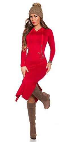 Maxikleid Strick Kleid mit Kapuze Schlitz Strass Knit Dress Hoodie Einheitsgröße - 5