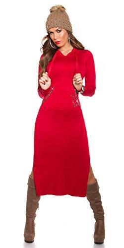 Maxikleid Strick Kleid mit Kapuze Schlitz Strass Knit Dress Hoodie Einheitsgröße - 8