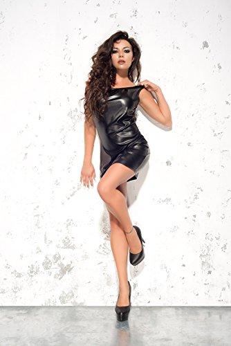 Me Seduce elegantes Leder-Look-Kleid Wetlook mit bezauberndem Rückenausschnitt mit feinstem Tüll, schwarz, Gr. L/XL - 2