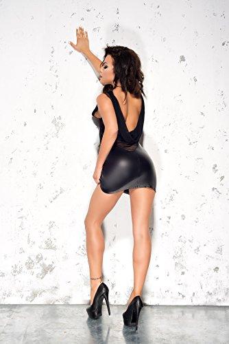 Me Seduce elegantes Leder-Look-Kleid Wetlook mit bezauberndem Rückenausschnitt mit feinstem Tüll, schwarz, Gr. L/XL - 3