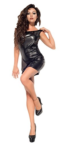 Me Seduce elegantes Leder-Look-Kleid Wetlook mit bezauberndem Rückenausschnitt mit feinstem Tüll, schwarz, Gr. L/XL - 1