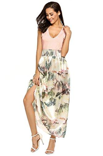 Meaneor Damen Boho Stil Blumenmuster Kleid /Ärmellos Maxikleid Strandkleid Urlaub Bodenlang Sommer