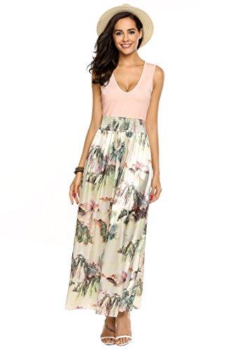 Meaneor Damen Ärmellos Maxikleid Sommer Böhmisches Abendkleid Strandkleid V-Ausschnitt High Waist Partykleid Bodenlang Rosa 40 L - 3