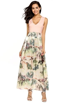 Meaneor Damen Ärmellos Maxikleid Sommer Böhmisches Abendkleid Strandkleid V-Ausschnitt High Waist Partykleid Bodenlang Rosa 40 L - 1