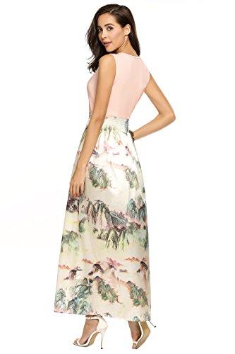Meaneor Damen Ärmellos Maxikleid Sommer Böhmisches Abendkleid Strandkleid V-Ausschnitt High Waist Partykleid Bodenlang Rosa 40 L - 4