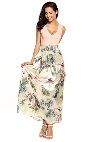 Meaneor Damen Ärmellos Maxikleid Sommer Böhmisches Abendkleid Strandkleid V-Ausschnitt High Waist Partykleid Bodenlang Rosa 40 L - 5