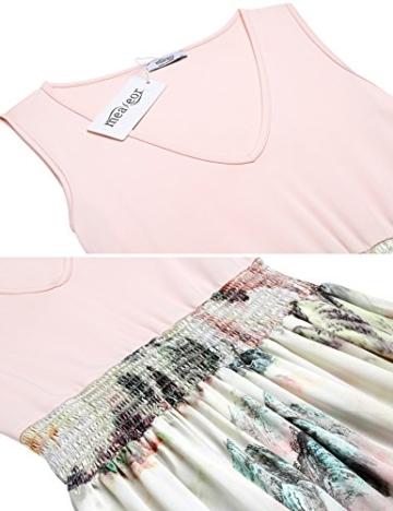 Meaneor Damen Ärmellos Maxikleid Sommer Böhmisches Abendkleid Strandkleid V-Ausschnitt High Waist Partykleid Bodenlang Rosa 40 L - 6