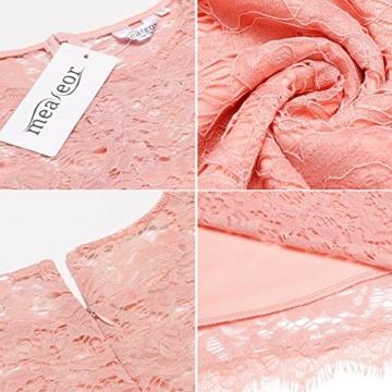 Meaneor Damen Elegantes Spitzen Kleid Mini Sommerkleider Etuikleid Partykleider Abendkleid mit Spaghettiträger - 6
