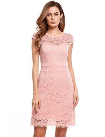 Meaneor Damen Elegantes Spitzen Kleid Mini Sommerkleider Etuikleid Partykleider Abendkleid mit Spaghettiträger - 1