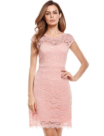Meaneor Damen Elegantes Spitzen Kleid Mini Sommerkleider Etuikleid Partykleider Abendkleid mit Spaghettiträger - 4
