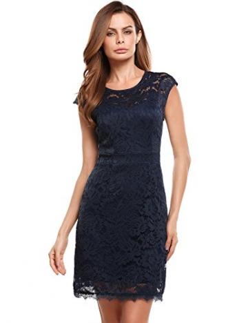 Meaneor Damen Elegantes Spitzen kleid Mini Sommerkleider Etuikleid Partykleider Abendkleid mit Spaghettiträger -