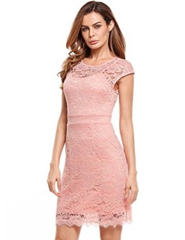 Meaneor Damen Elegantes Spitzen Kleid Mini Sommerkleider Etuikleid Partykleider Abendkleid mit Spaghettiträger - 2