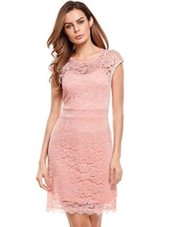 Meaneor Damen Elegantes Spitzen Kleid Mini Sommerkleider Etuikleid Partykleider Abendkleid mit Spaghettiträger - 3