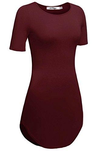 Meaneor Damen Lang Tunika Kurzarm Kleid Shirt Herbst Bluse Minikleid O-Ausschnitt Stretch T-Shirt -