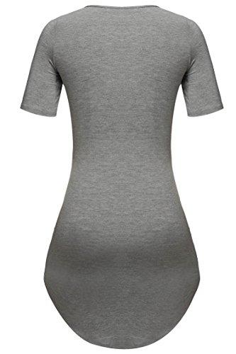 Meaneor Damen Lang Tunika Kurzarm Kleid Shirt Herbst Bluse Minikleid O-Ausschnitt Stretch T-Shirt - 3
