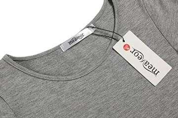 Meaneor Damen Lang Tunika Kurzarm Kleid Shirt Herbst Bluse Minikleid O-Ausschnitt Stretch T-Shirt - 4