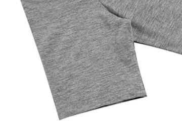 Meaneor Damen Lang Tunika Kurzarm Kleid Shirt Herbst Bluse Minikleid O-Ausschnitt Stretch T-Shirt - 5