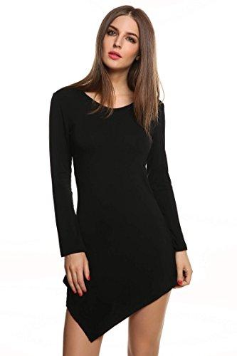 Meaneor Damen Langarmshirt Langarm Asymmetrisch Tunika Tops Regular Fit O-Ausschnitt Stretch Minikleid Schawrz Gr.38 - 2