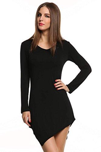 Meaneor Damen Langarmshirt Langarm Asymmetrisch Tunika Tops Regular Fit O-Ausschnitt Stretch Minikleid Schawrz Gr.38 - 3