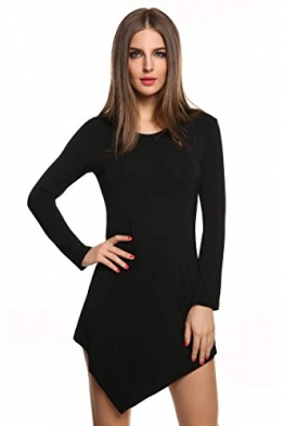 Meaneor Damen Langarmshirt Langarm Asymmetrisch Tunika Tops Regular Fit O-Ausschnitt Stretch Minikleid Schawrz Gr.38 - 1