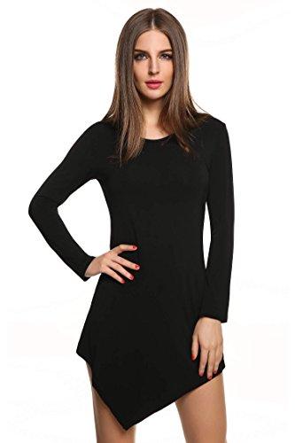 Meaneor Damen Langarmshirt Langarm Asymmetrisch Tunika Tops Regular Fit O-Ausschnitt Stretch Minikleid Schawrz Gr.38 - 1