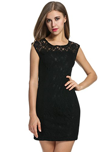 Meaneor Damen Spitzen Kleid Elegant Lace Partykleid Cocktail Party Festlich Kleid -