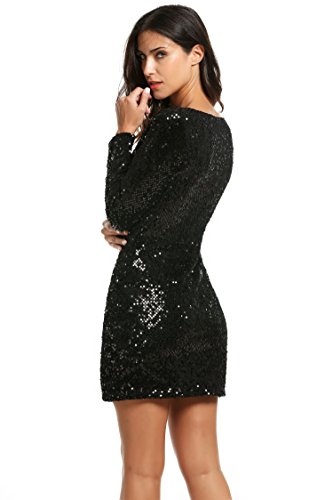Meaneor Damen V-Ausschnitt Paillettenkleid Sexy Partykleid Festlich Minikleid Cocktailkleid Langarm Bodycon für Weihnachtsfeier -