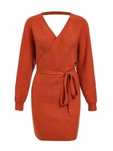 Melegant Damen Herbst Gestrickte Kleid Elegant V-Ausschnitt Bodycon Knielang Gürtel Langarm Pullover Strickkleid Winter Rot - 3