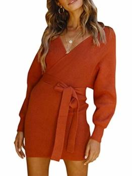 Melegant Damen Herbst Gestrickte Kleid Elegant V-Ausschnitt Bodycon Knielang Gürtel Langarm Pullover Strickkleid Winter Rot - 1