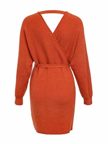 Melegant Damen Herbst Gestrickte Kleid Elegant V-Ausschnitt Bodycon Knielang Gürtel Langarm Pullover Strickkleid Winter Rot - 4