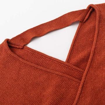 Melegant Damen Herbst Gestrickte Kleid Elegant V-Ausschnitt Bodycon Knielang Gürtel Langarm Pullover Strickkleid Winter Rot - 5