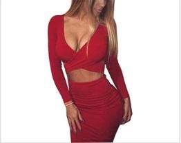 MERCIY Sexy Fest V Ausschnitt Langarm Bodycon Kleid ,Figurbetontes Kleid Knielang (M, Rot) - 1