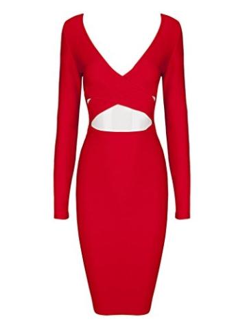 MERCIY Sexy Fest V Ausschnitt Langarm Bodycon Kleid ,Figurbetontes Kleid Knielang (M, Rot) - 3