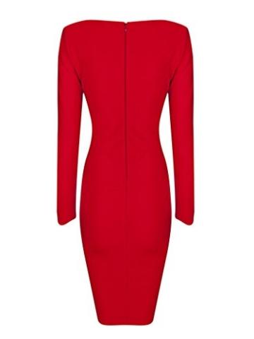 MERCIY Sexy Fest V Ausschnitt Langarm Bodycon Kleid ,Figurbetontes Kleid Knielang (M, Rot) - 4