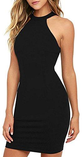Meyison Damen Armellos Spitzenkleid Ballkleid Retro Rockabilly Sommerkleid Elegant Vintage Cocktailkleid Kleider Schwarz-XXL - 1