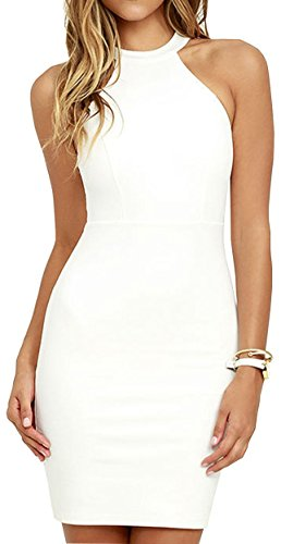 Meyison Damen Armellos Spitzenkleid Ballkleid Retro Rockabilly Sommerkleid Elegant Vintage Cocktailkleid Kleider Weiß-M - 1