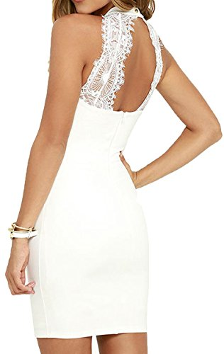 Meyison Damen Armellos Spitzenkleid Ballkleid Retro Rockabilly Sommerkleid Elegant Vintage Cocktailkleid Kleider Weiß-M - 2