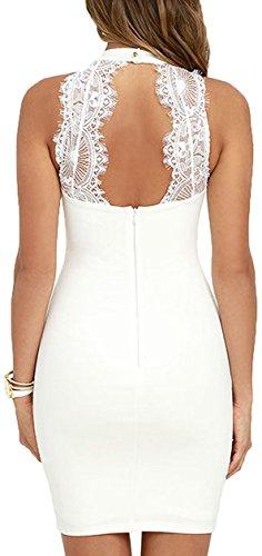 Meyison Damen Armellos Spitzenkleid Ballkleid Retro Rockabilly Sommerkleid Elegant Vintage Cocktailkleid Kleider Weiß-M - 3