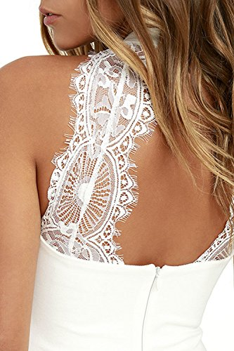 Meyison Damen Armellos Spitzenkleid Ballkleid Retro Rockabilly Sommerkleid Elegant Vintage Cocktailkleid Kleider Weiß-M - 4